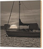 Boater's Sunset Wood Print