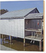 Boathouse At Low Tide Wood Print