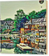 Boathouse Color Wood Print