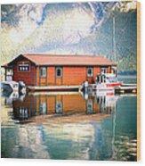 Boathouse Lake Minnewanka Ab Canada Wood Print