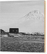 boathouse on goudier island port lockroy with doumer island hill Antarctica Wood Print