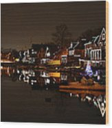 Boathouse Row All Lit Up Wood Print by Bill Cannon