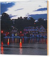Boathouse Row Along The Schuylkill River At Dawn Wood Print