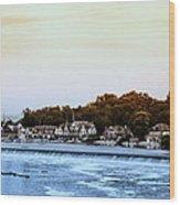 Boathouse Row And Farmount Dam Wood Print