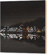 Boathouse Row At Night Wood Print