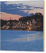 Boathouse Row Dusk Wood Print