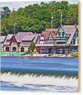 Boathouse Row - Hdr Wood Print