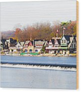 Boathouse Row In Autumn Wood Print