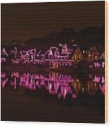 Boathouse Row In Pink Wood Print