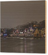 Boathouse Row In The Evening Wood Print