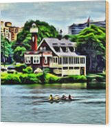 Boathouse Rowers On The Row Wood Print