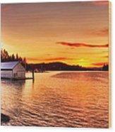 Boathouse Sunset On The Sunshine Coast Wood Print