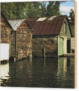 Boathouses On The River Wood Print