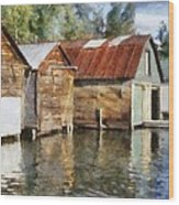Boathouses On The Torch River Ll Wood Print