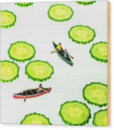Boating Among Cucumber Slices Miniature Art Wood Print by Paul Ge