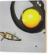 Boating Around Egg Little People On Food Wood Print by Paul Ge