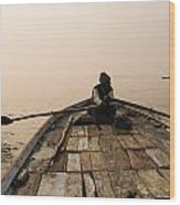 Boating At Sangam Wood Print