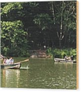 Boating In Central Park Wood Print