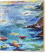 Boating In Italy Watercolor  Wood Print