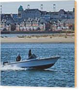Boating In New York Harbor Wood Print by Dan Sproul