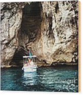 Boating In The Grotto Wood Print by H Hoffman