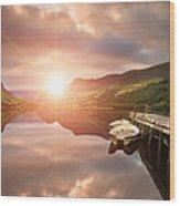 Boating Lake Sunrise Wood Print