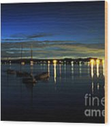 Boating - The Marina At Night Wood Print by Paul Ward