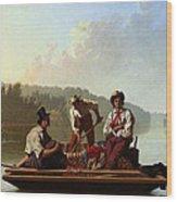 Boatmen On The Missouri Wood Print