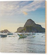 Boats Anchored In Bacuit Bay And Cadlao Wood Print