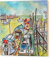 Boats And Boardwalks By Brittany 02 Wood Print
