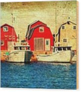 Boats And Boat Houses Pei Photograph  Wood Print by Laura Carter