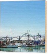 Boats And Bridge Wood Print