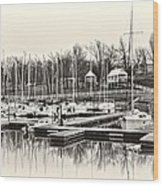Boats And Cottages In B/w Wood Print