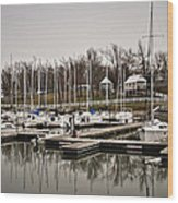 Boats And Cottages On Overcast Day Wood Print by Greg Jackson