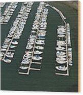 Boats And Docks At Cap Sante Marina Wood Print