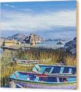 Boats And Floating Islands Wood Print