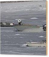 Boats And Ice Hobart Beach Ny Wood Print