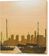 Boats And Skyscrapers Wood Print