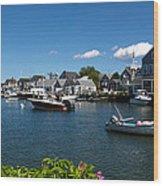 Boats At A Harbor, Nantucket Wood Print