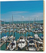 Boats At Bay Wood Print