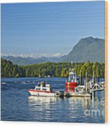 Boats At Dock In Tofino Wood Print