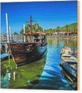Boats At Kibbutz On Sea Galilee Wood Print