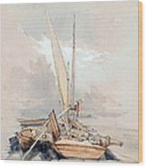 Boats At Quayside Lake Geneva Wood Print