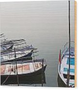 Boats At Sangam Wood Print