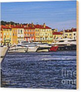 Boats At St.tropez Harbor Wood Print by Elena Elisseeva
