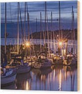 Boats At Sunset Wood Print