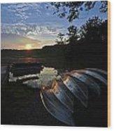 Boats At Sunset Wood Print