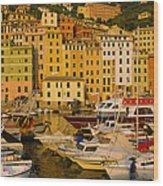 Boats At The Harbor, Camogli, Liguria Wood Print