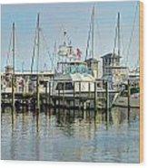 Boats At The Marina Wood Print
