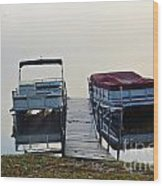 Boats By The Dock Wood Print
